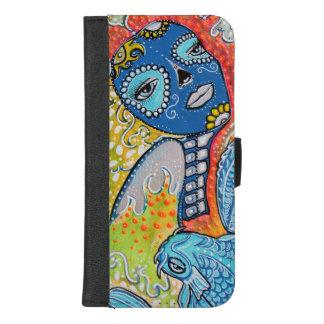 Koi Fisch-Zuckerschädel iPhone Geldbörsen-Kasten iPhone 8/7 Plus Geldbeutel-Hülle