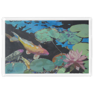 Koi Fische im Lilien-Teich-Acryl-Behälter Acryl Tablett