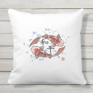 Koi Fische mit Friedenschinese-Kissen Kissen