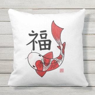 Koi Fische mit Vermögens-Charakter-Kissen Kissen Für Draußen