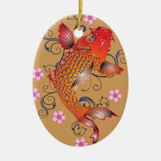 Koi Fische Ovales Keramik Ornament