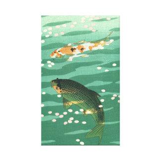 Koi Karpfen-Fisch-Teich Vintage klassische Ukiyo-e Leinwanddruck