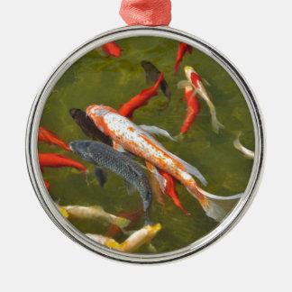 Koi Karpfen im Teich Silbernes Ornament