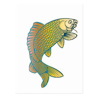 Koi Karpfen-Japaner-Fische Postkarte