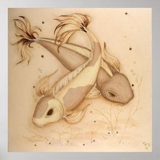 Koi Karpfen-japanische Fische, die Kunst-Druck Poster