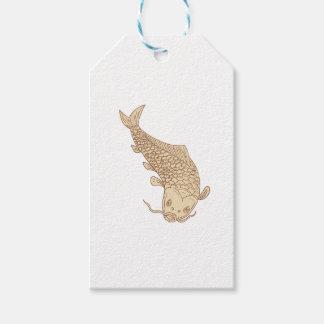 Koi Nishikigoi Karpfen, der hinunter das Zeichnen Geschenkanhänger