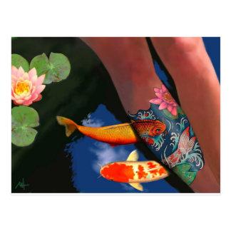 Koi Tätowierungs-Lilien-Teich Postkarte