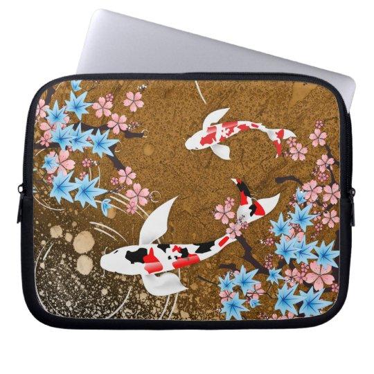 Koi Teich - Holz - Japaner entwerfen Laptop-Hülse Laptopschutzhülle