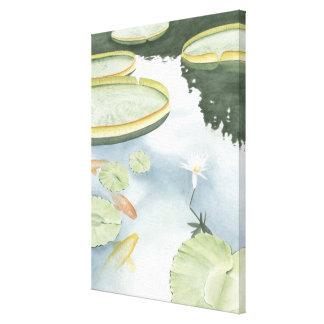 Koi Teich-Reflexion mit Fischen und Lilien Leinwanddruck