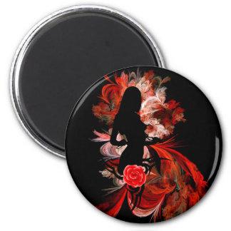 Kokette erwachsene romantische Frau des Spaßes auf Runder Magnet 5,1 Cm