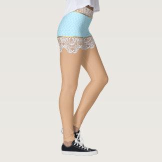 Koketter blauer Spitze-Rock für Frau Leggings