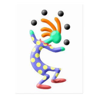 Kokopelli Clown Postkarte