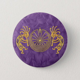 KOKOPELLI/MANN IM LABYRINTH-Gold + Ihre Ideen Runder Button 5,1 Cm