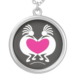 Kokopelli mit rosa Herz Valentinstag Halskette Mit Rundem Anhänger