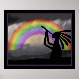 Kokopelli Regenbogen-Druck Poster
