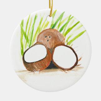 Kokosnussfrucht-Wasserfarbe Keramik Ornament