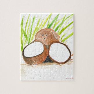Kokosnussfrucht-Wasserfarbe Puzzle