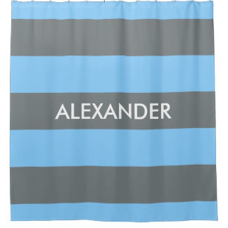 Koksgraues mutiges H Monogramm des Himmel-Blau-des Duschvorhang