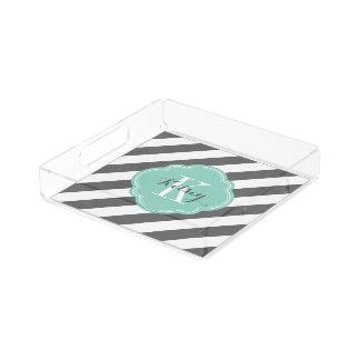 Koksgraues und Aqua-adrettes Streifen-Monogramm Acryl Tablett