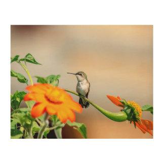 Kolibri 10x8 auf einer blühenden Pflanze Holzwanddeko