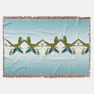 Kolibri-Blumen blaue Ombre Throw-Decke Decke
