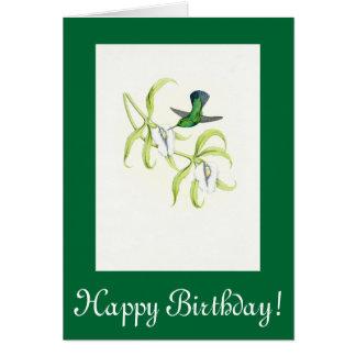 Kolibri-Blumen-Geburtstags-Karte Karte