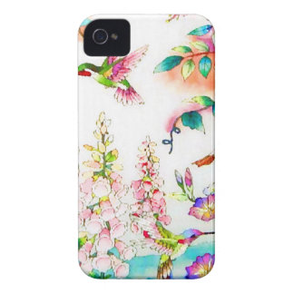 Kolibri-Blumen-Landschaft iPhone 4 Hüllen