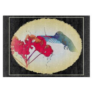 Kolibri-Blumen-Vogel-Tier-Tiere mit Blumen Schneidebrett