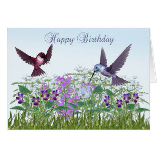 Kolibri-Garten-Geburtstags-Karte Karte