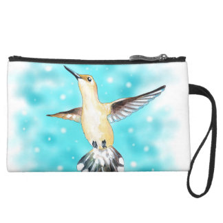 Kolibri-Himmel Mini Velour Clutch