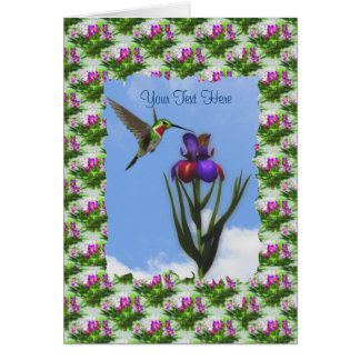 Kolibri-Iris-Blumen-Karte Karte