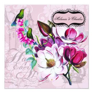 Kolibri-Magnolien-quadratische Hochzeits-Einladung Quadratische 13,3 Cm Einladungskarte