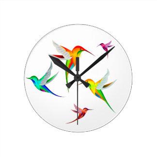 Kolibri-Menge niedlich - buntes Vogel-Aufpassen Runde Wanduhr
