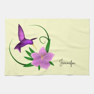 Kolibri mit rosa Blume Handtuch