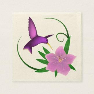 Kolibri mit rosa Blume Serviette