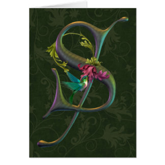 Kolibri-Monogramm S Karte