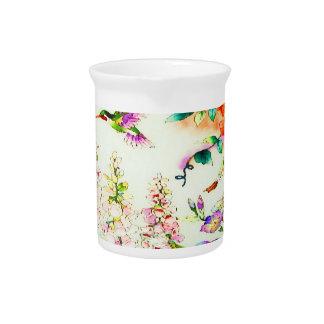 Kolibri-Rosa-Blumen Getränke Pitcher
