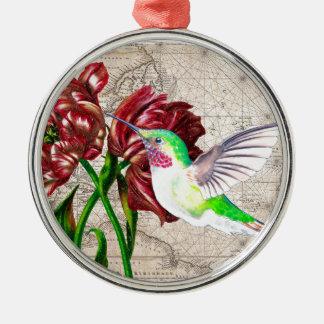 Kolibri-Tulpe-Karte Rundes Silberfarbenes Ornament