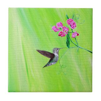 Kolibri u. süße Erbsen Fliese