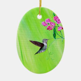 Kolibri u. süße Erbsen Keramik Ornament