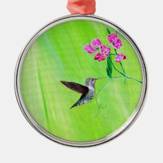 Kolibri u. süße Erbsen Silbernes Ornament