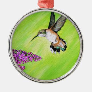 Kolibri und Flieder Silbernes Ornament