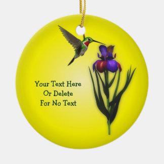 Kolibri-und Iris-Blume personalisiert Keramik Ornament