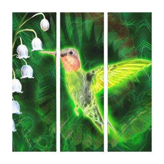 Kolibri-und Lilien-Fraktal Leinwanddruck