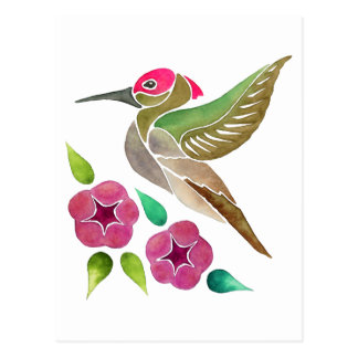 Kolibri-und Petunie-abstrakte Malerei Postkarte