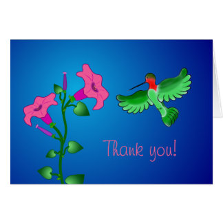 Kolibri und Petunien danken Ihnen zu kardieren Karte