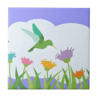 Kolibri und Wildblumen Keramikfliese