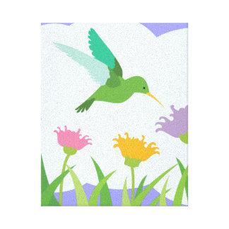 Kolibri und Wildblumen Leinwanddruck
