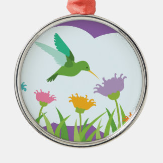 Kolibri und Wildblumen Silbernes Ornament