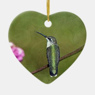Kolibri und Zinnia Keramik Herz-Ornament
